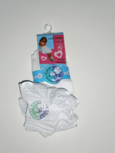 3 PAIRS GIRLS WHITE LACE ANKLE SOCKS from BABY TO TEEN SIZES