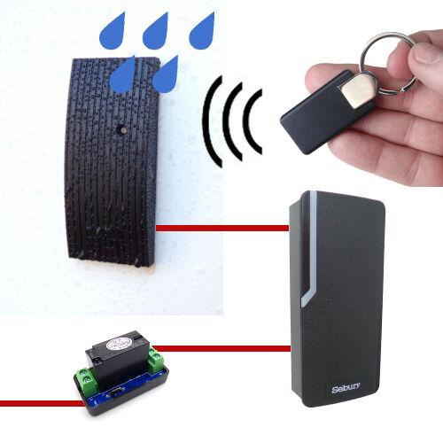 RFID-Zutrittskontroll-Set, Außen- und Innengerät, inkl. Relais und Transponder