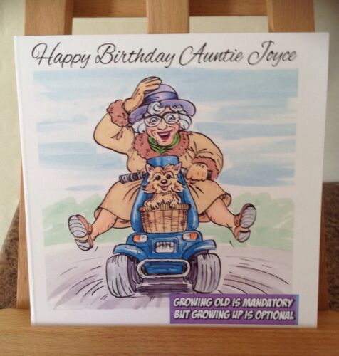 Funny Old Lady Scooter Personalised Birthday Card