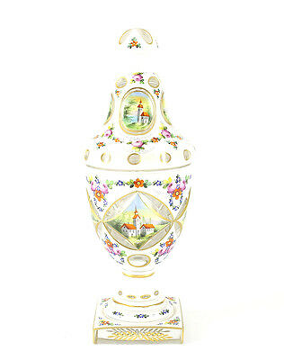 Bohemian White on Clear Art Glass Floral Lidded Urn; Gilt Painted Pastoral Scene