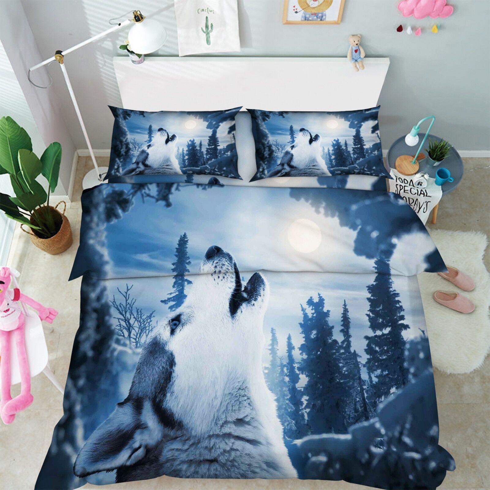 3D Woods Wolf Moon 86 Bed Pillowcases Quilt Duvet Cover Set Single King UK Lemon