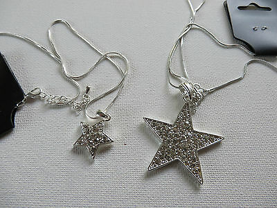 LARGE 4cm / SMALL 2cm SILVER DIAMANTE STAR NECKLACE PENDANT 48+5CM CHAIN new box