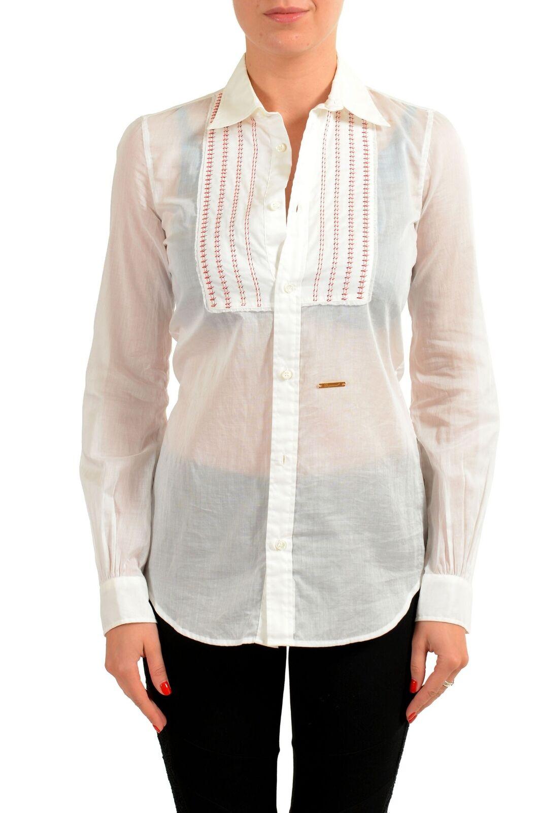 Dsquarot2 Damen Weiß Designiert Knöpfe Langärmeliges Top S It 40