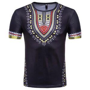 Summer-Men-039-s-African-Dashiki-Boho-T-Shirt-Short-Sleeve-Casual-Tribal-Tops-Blouse