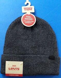 7f599d43db8a9 Levi s Men s Logo Beanie Hat Charcoal Fleece Lined Waffle Knit ...