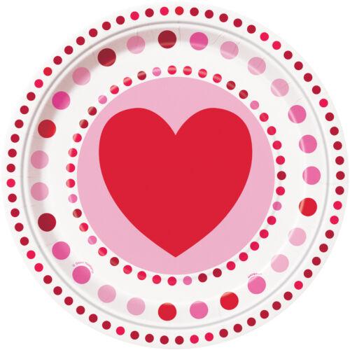 Placa De Boda Rubí 8 placas de Corazones de San Valentín radiante Papel Fiesta Placas 9 in approx. 22.86 cm