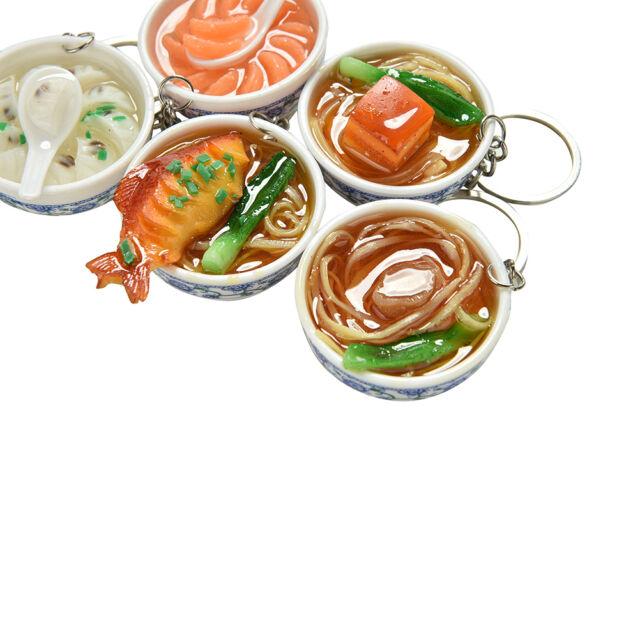 Simulation Food Key Chains Chinese Food Bowl Keyring Creative Bag Chain liau