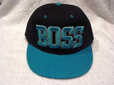 BLACK /& BLUE BOSS FLAT BILL SNAPBACK BASEBALL CAP HAT