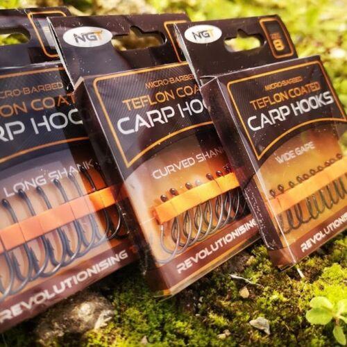 10 NGT CARP HOOKS TEFLON COATED MICRO BARBED HOOKS WIDE GAPE LONG CURVED SHANK