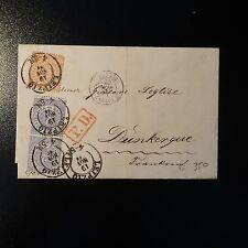 ALLEMAGNE NORDDEUTSCHER N°14 N°16 PAIRE LETTRE BRIEF 1871 LEIPZIG POUR DUNKERQUE