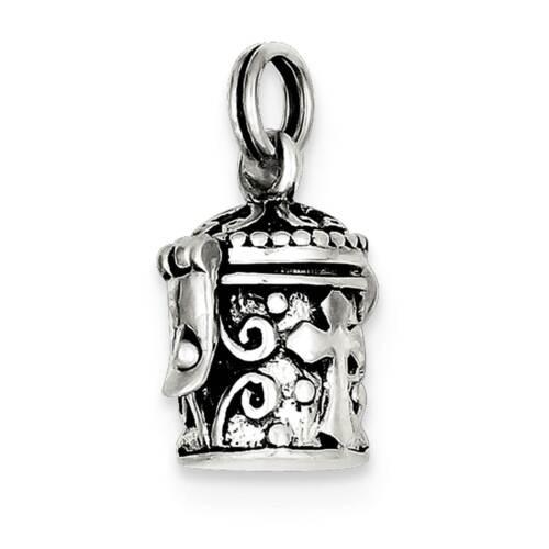 .925 Sterling Silver Antique Cross Prayer Box Charm Pendant QC4465VJ4247