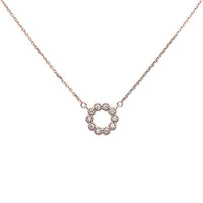 Rose Gold Plated Cubic Zirconia Flower Design .925 Sterling Silver Necklace