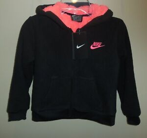 Nike-Girls-Size-6-Fleece-Jacket-Coat-Black-Pink-New-Hooded-36E405-023