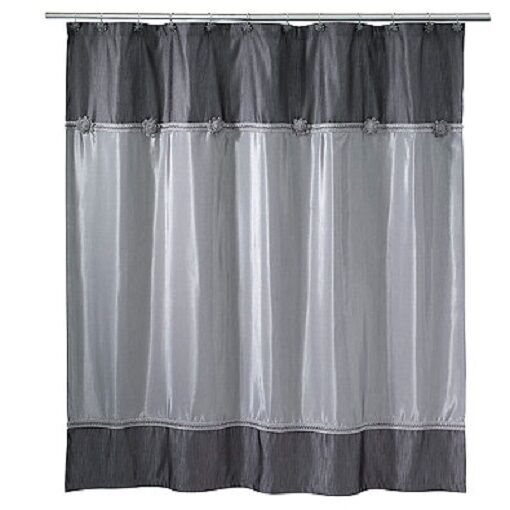 Avanti Linens Braided Medallion Shower Curtain 12 Deluxe Shower Hooks Hooks Hooks Granite 345e1c