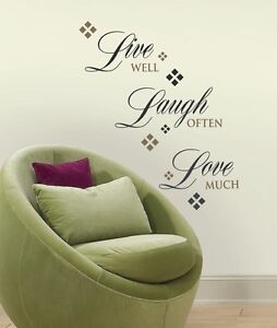 Details about Roommates Live Love Laugh Inspirational Quotes Peel & Stick  Home Wall Decals