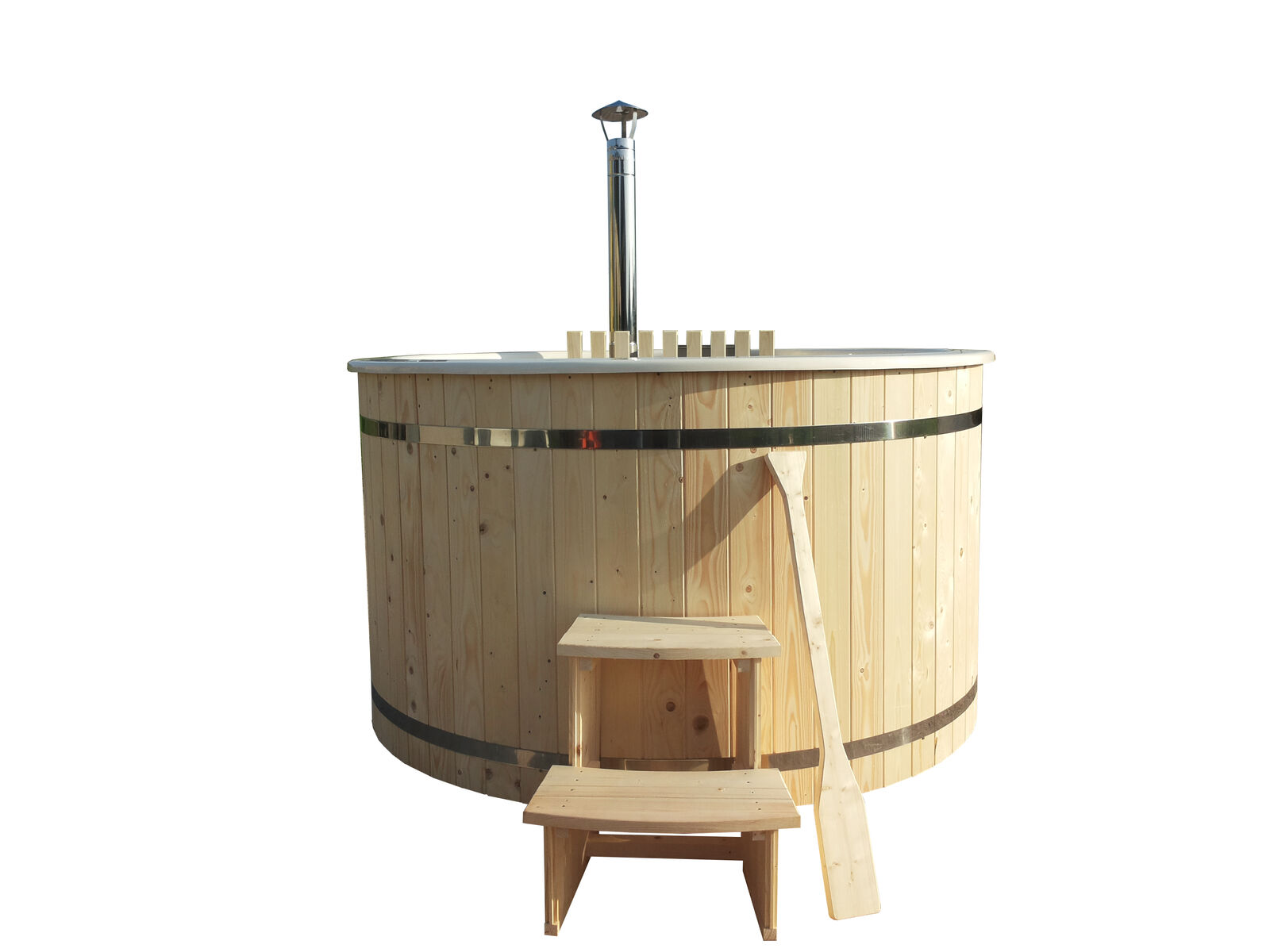 GFK Hot Tub Badefass 200cm mit Ofen V2A NEU Badezuber Holz Badewanne NEU Pool