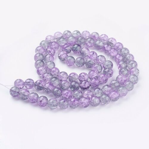 Lila 10 mm Glasperlen Crash Crackle Crack Glas Perlen Beads 50Stk 1967