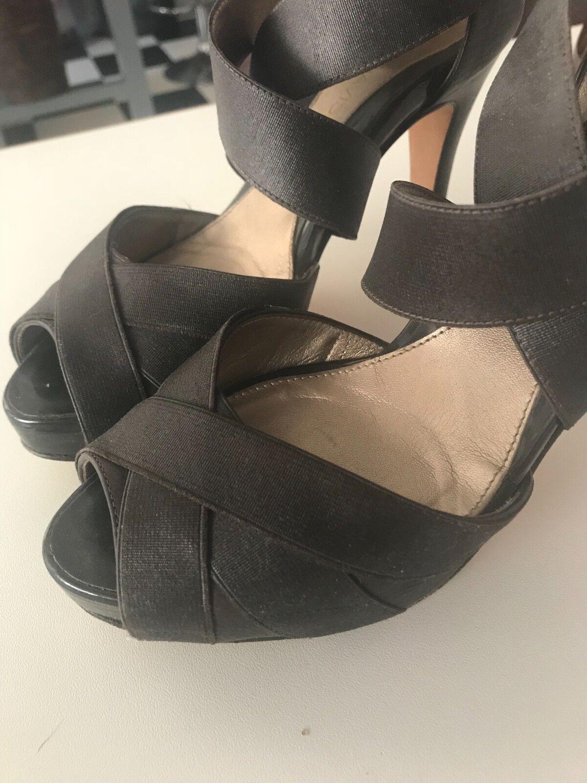 DANA DANA DANA DAVIS  Lola  Peep-Toe Platform Dark Brown Sandal - 7.5 5f2279