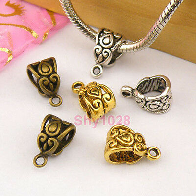 10Pcs Tibetan Silver,Gold,Bronze Charm Pendant Bail Connector Fit Bracelet M1396