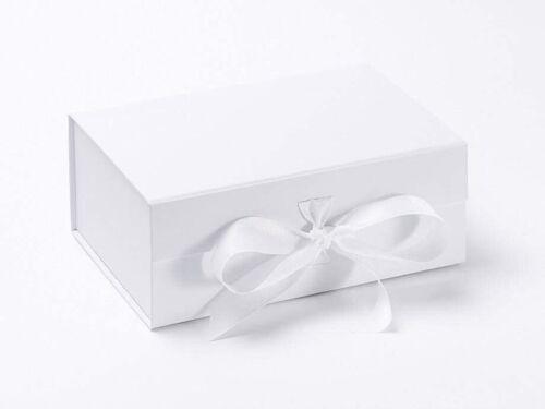 A5 Deep Box Magnetic Closure Luxury Gift// Keepsake White Box Grosgrain Ribbon