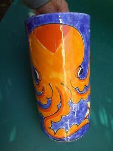 Retro-Italian-NINO-PARRUCCA-Pottery-Vase-Orange-Octopus-Mid-Century-Vnt-1950-039-s