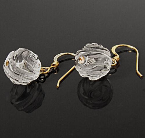 BALL 14k GOLD FILLED DROP EARRINGS 10mm GENUINE ROCK-CRYSTAL CARVED ROSE BEAD