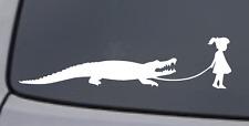 GIRL WALKING A ALLIGATOR Vinyl Decal Sticker Car Window Wall Bumper Funny Animal