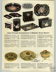 1958-PAPER-AD-Tole-Ware-Toleware-Hand-Painted-California-Pottery-Lazy-Susan