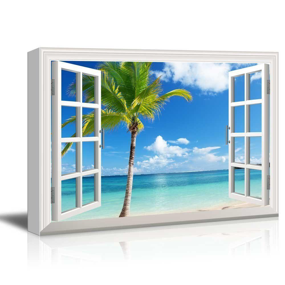Canvas Print- Beautiful Scenery Landscape Palm Tree on Tropical Beach- 24  x36