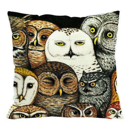 Linen Animal Owl Cushion Decor Sofa Case Cotton Waist Cover Home Pillow Cartoon