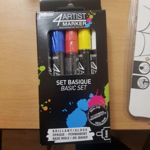 Pack of 5 Basic Pebeo 4Artist Marker Oil Based Glossy Permanent Paint Pen 4mm