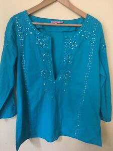 Calypso-St-Barth-Tunic-Coverup-S-6-8-Aqua-Blue-with-Sequins-Embroidery-V-Neck
