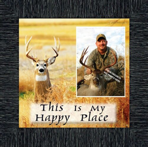 **NEW** A Deer Hunters Happy Place Framed Hunting Picture 10X10 9727