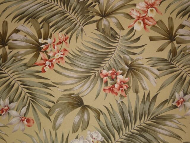 Trendtex Fern Orchids OLIVE GREEN Cotton Bark Drapery Upholstery Fabric BTY