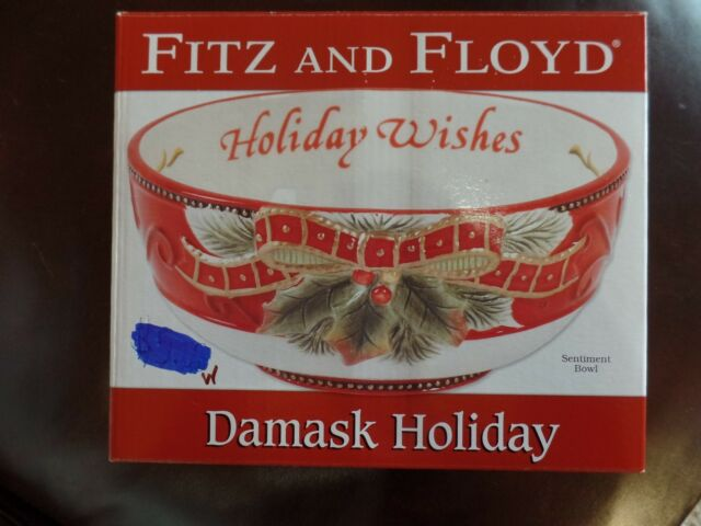 Fitz and Floyd Damask Holiday Sentiment Bowl Serving Christmas Wishes Holly New