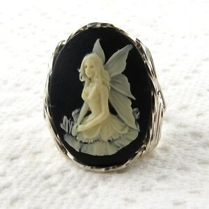 Fairy-Cameo-Ring-925-Sterling-Silver-Jewelry-Any-Size-Black-Resin