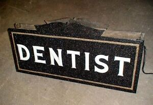 1920's Antique pre neon Dentist sign milk glass letters w/ porcelain bulb socket