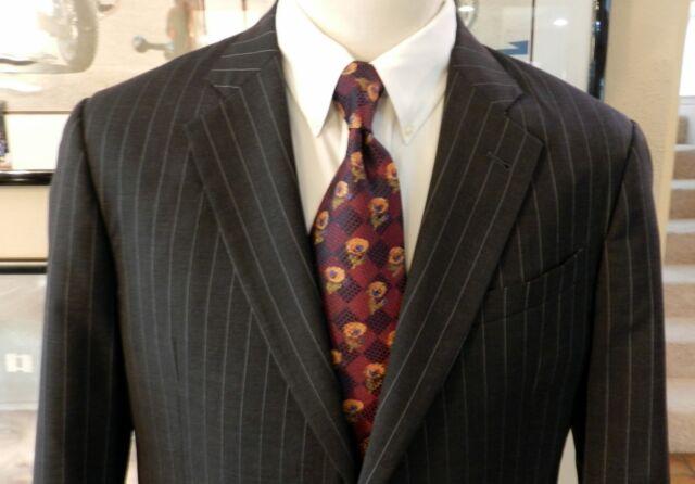 Armani Collezioni Saks Fifth Ave Italy Mens Black Grey Pinstripe 2 pc Suit 42 L