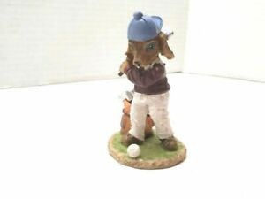 Golf Dog Ceramic Figurines Puppy K9 Animal Ball Bag Hat Clubs Sweater Slacks