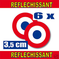 Roundel RETRO REFLECTIVE FRANCE 6 stickers adhesives round O3,5cm set of 6