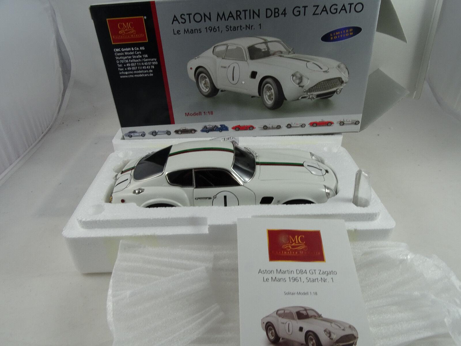 1 18 Cmc  M-139 Aston Martin Db4 Gt Zagato Lemans 1961 Limitado Ed. Rareza