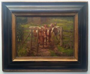 19th-century-Antique-oil-French-Impressionist-painting-The-cows-Near-of-PISSARRO