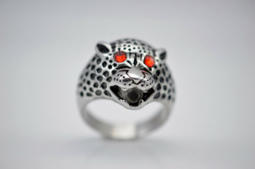 Leopard Ring Stainless Steel With Ruby Red Eyes Free USA Shipping
