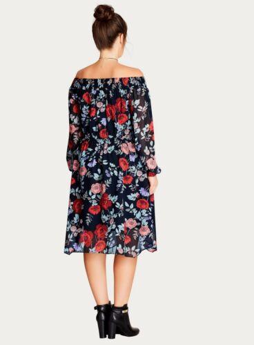 EX EVANS City Chic Foncé Multi Poppy Shift Robe RRP £ 80 tailles 14 16 18 20 22