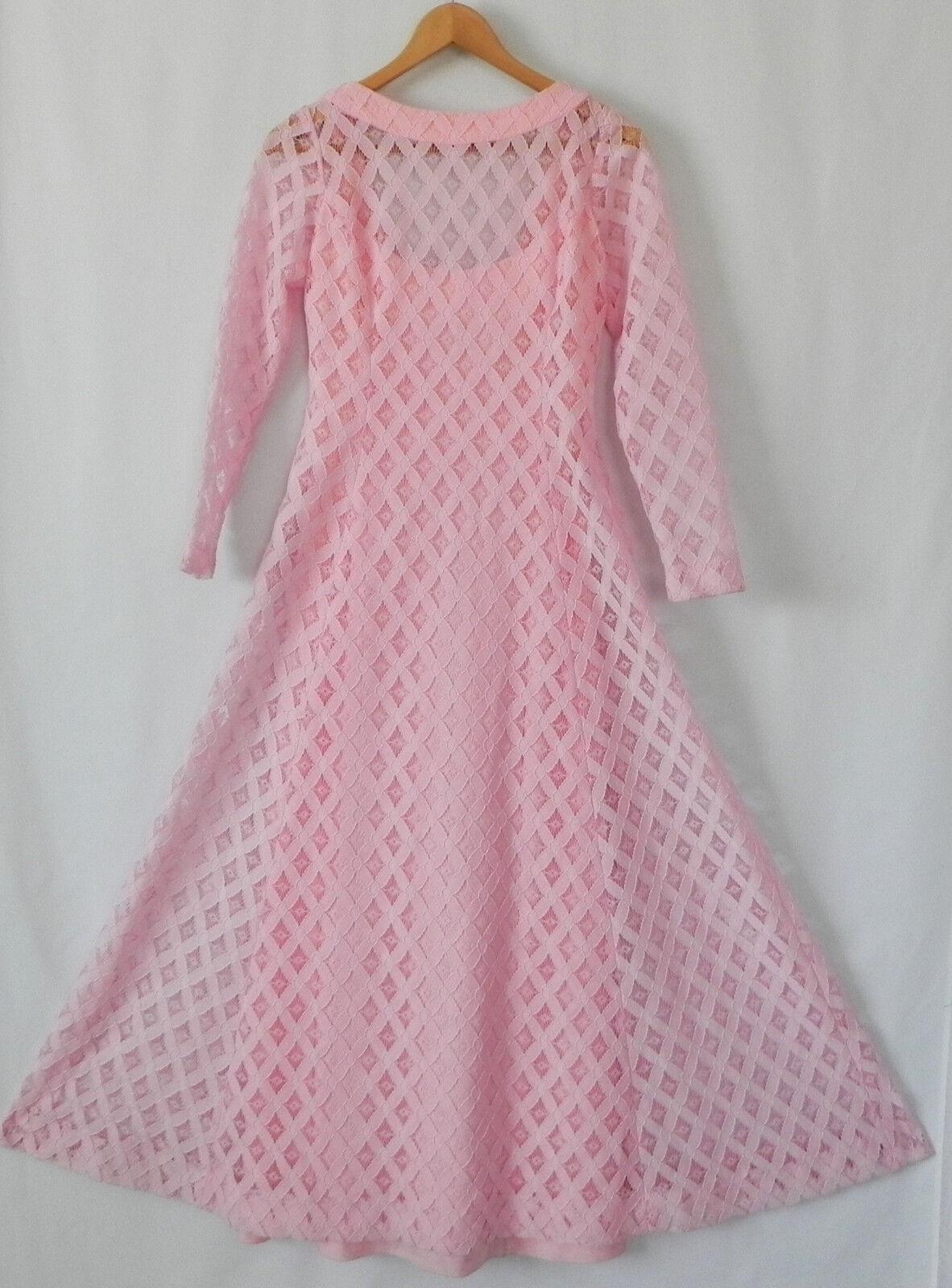 Vtg ILGWU Union Dress Pink Lace Maxi Fit-Flared Long Sleeve Size S M