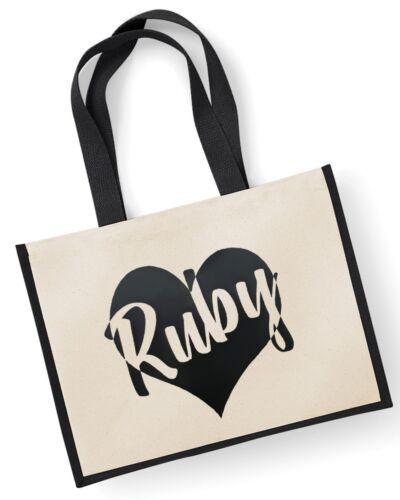 Personalised Heart Jute Bag 42x33cm Customised Printed Name Tote Teacher Gift