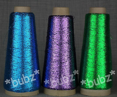 3 CONES PURPLE BLUE GREEN LUREX METALLIC GLITTER YARN MACHINE KNIT SPARKLE FINE