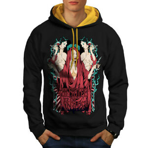 Wellcoda-Vampire-soif-Hot-Sexy-Homme-Contraste-Sweat-a-capuche-goth-Casual-Pull