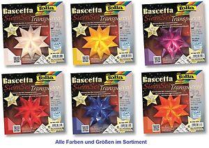Bascetta-Stern-Faltstern-Weihnachtsstern-transparent-Papier-alle-Farben-u-Groessen