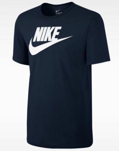 943065-419 Siz  M Nike Men/'s Futura Icon Swoosh Logo Navy//White Cotton T-Shirt